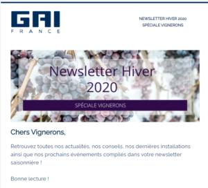 [Newsletter membre] GAI France - Newsletter Hiver 2020 - Spéciale Vignerons